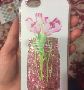 Чехол с блестками на iPhone 6