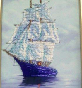 Картина бисером, Парусник