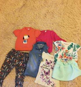 Вещи пакетом на девочку + пижамка (рост 86-92)