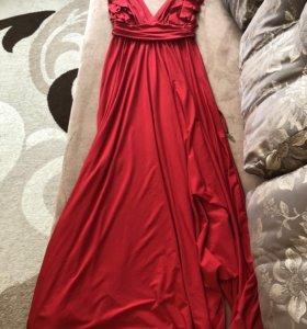 Красное вечернее выпускное Платье в пол длинное