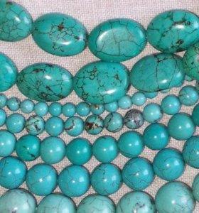 Бусы из зеленой и голубой бирюзы
