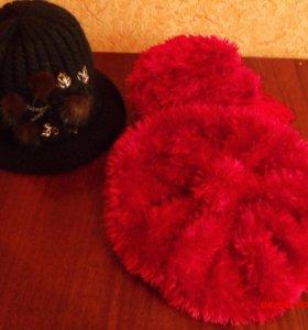 Береты с шарфиком, шляпка вязаная