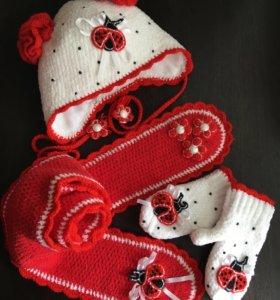 Комплект шапка-шарф-варежки