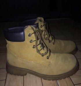 Замшевые натуральные ботинки с мехом