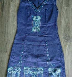 Льняное платье xs