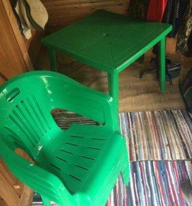 Большой зонт,стол и стулья