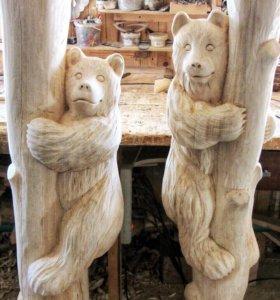 Медведи из дерева ручной работы