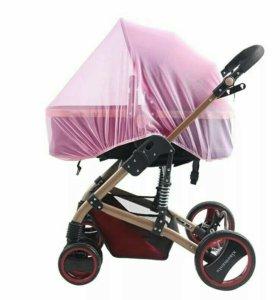 Антимоскитная сетка новая розовая для коляски