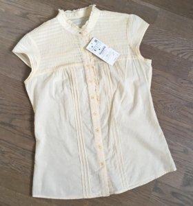 Zara р.S блузка рубашка хлопковая светло-желтая