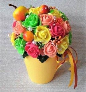 Топиарий - кружка со съемным цветочным декором.