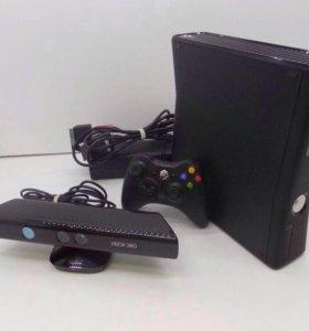 Xbox 360+Kinect+2 беспроводных джойстика+игры.