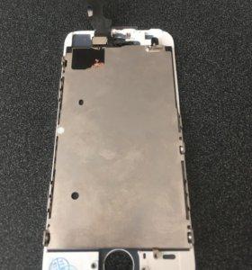 Экран на iphone 5s белый+стекло в подарок 🎁