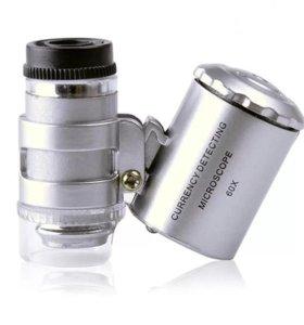 Мини микроскоп 60 х с подсветкой