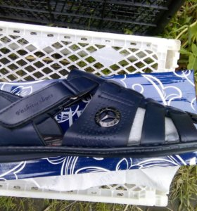 Мужские летние сандалии кожаные