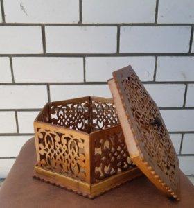 Шкатулка деревянная, ручная работа
