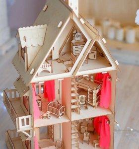 Кукольный Чудо домик+6 наборов мебели