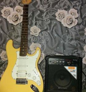 Электро-гитара+чехол+ремень