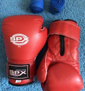 Боксёрские перчатки SPX 4 oz с бинтами