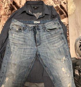 Мужские рубашка и джинсы