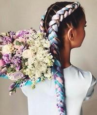 Цветные брейды. Канекалон. Плетение кос.