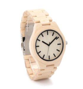 Часы с деревянным корпусом и браслетом