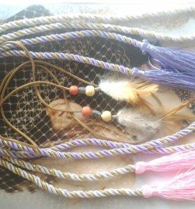 Кисточки для штор и веревка с перьями