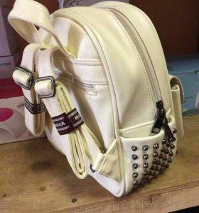 Рюкзак белый кожаный, ранец