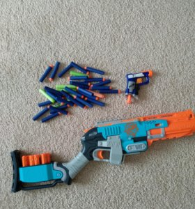 NERF дробовик + пистолет + 35 патронов