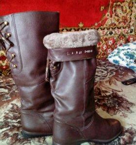 Сапоги зима натуральная кожа и мех  новые