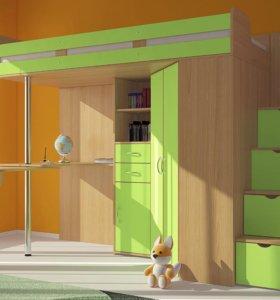 Детская кровать-чердак Мийа (зеленая)
