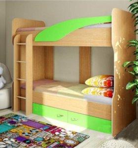 Кровать двухъярусная Мийа (У) (зеленая)