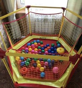 Батут-манеж с шариками
