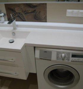 Столешницы для ванной с литыми раковинами