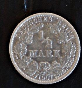 Германия, 1/2 марки 1907