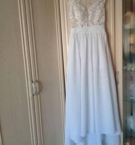 Белое свадебное, вечернее платье