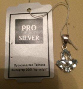 Подвеска серебро с голубым топазом