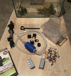 Аквариум 40л,фильтр,нагреватель,компрессор,камни