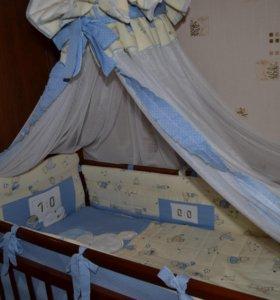 Кроватка, матрас, кпб, держатель для балдахина