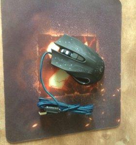 игровая мышка с подсветкой + коврик