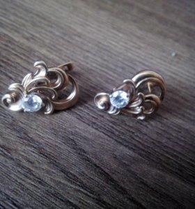 Серьги 925,позолоченное серебро