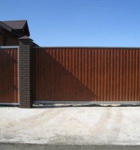Откатные (сдвижные) въездные ворота 4000x2000 мм