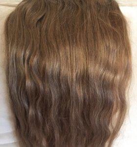 Натуральные волосы на заколках 50 см цвет - русый