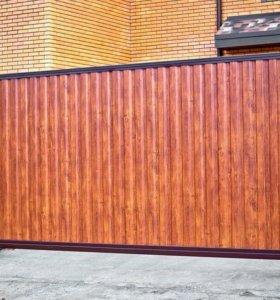 Откатные (сдвижные) въездные ворота 4000x2200 мм