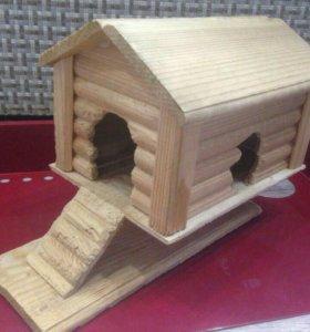 Деревянный домик,колесо для грызуна б/у+клетка б/у