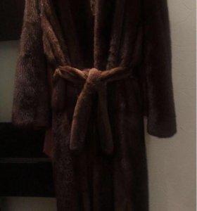 Норковая шуба длинная в пол 46 размер