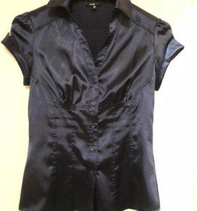 Блузка синяя шёлк р 42-44