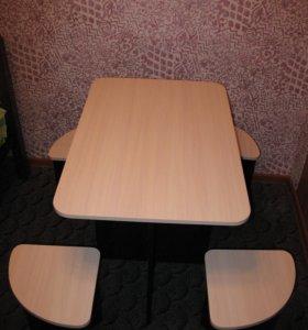 Обеденный кухонный стол с табуретками, новый