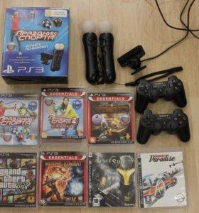 2 Move+камера, 2 контроллера, 7 дисков для PS3