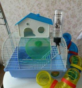 Б/У Клетка+ Домик  для хомячков.