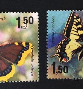 Марка почтовая бабочка 1977г.